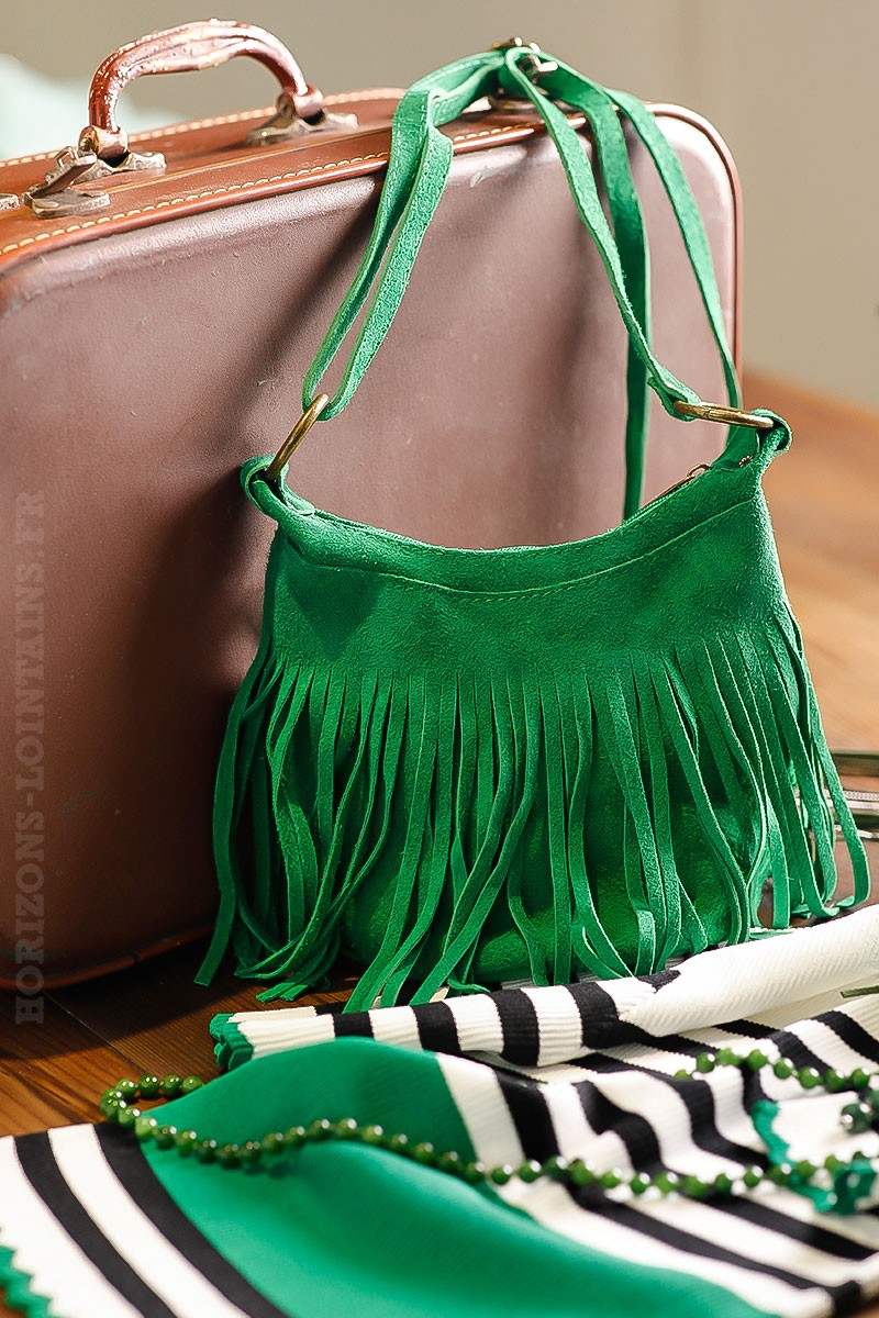 Sac seau vert vif cuir velours à franges