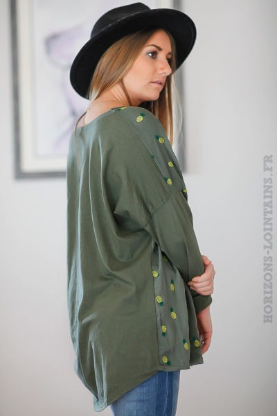 Top-kaki-bi-matière-imprimé-ananas-vert-jaunes-tops-femme-C003