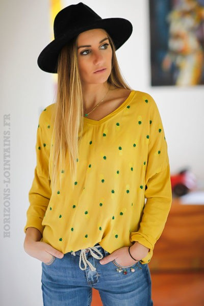 Top-moutarde-bi-matière-imprimé-ananas-vert-kaki-jaunes tops-femme