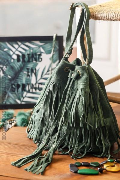 Grand sac seau vert anglais kaki avec franges