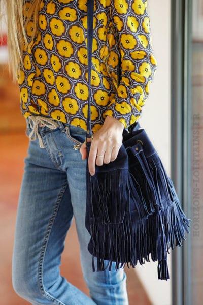 grand sac seau à franges bleu marine look bohème hippie