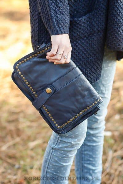 sac pochette cuir bleu