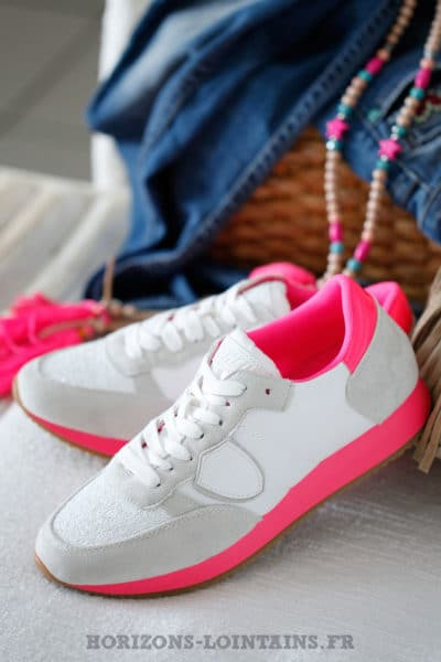 Baskets femme running à plateforme blanches et rose fluo