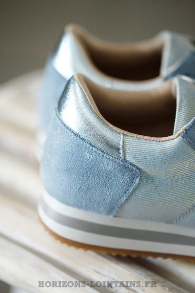 Baskets femme plateforme style running bleu ciel