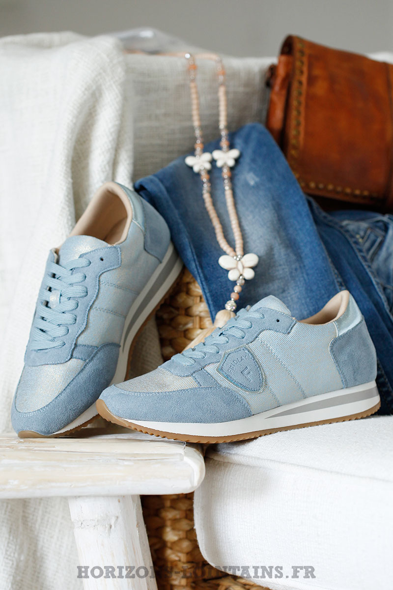 basket bleu femme