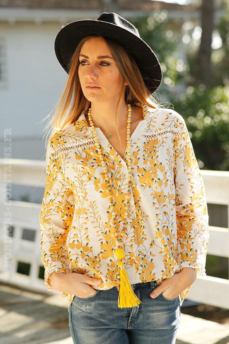 e1385b42814 Blouse col chemise imprimé jaune moutarde - Horizons Lointains