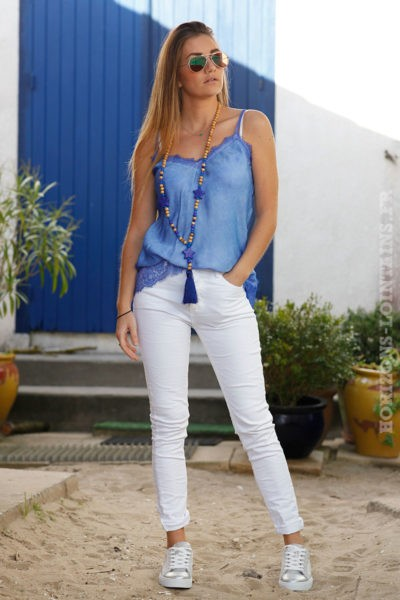 Caraco bleu électrique avec dentelle débardeurs colorés femme