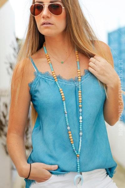 Caraco-turquoise-avec-dentelle-style-nuisette femme débardeurs colorés