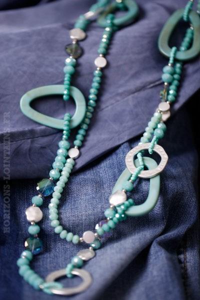 Collier sautoir femme perles turquoise vert d'eau