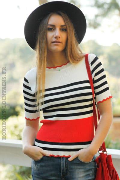 Crop-top-ecru-rayures-noires-et-bandes-rouges-top-femme