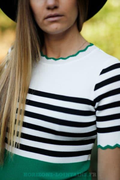Crop-top-ecru-rayures-noires-et-bandes-vertes-détail-top