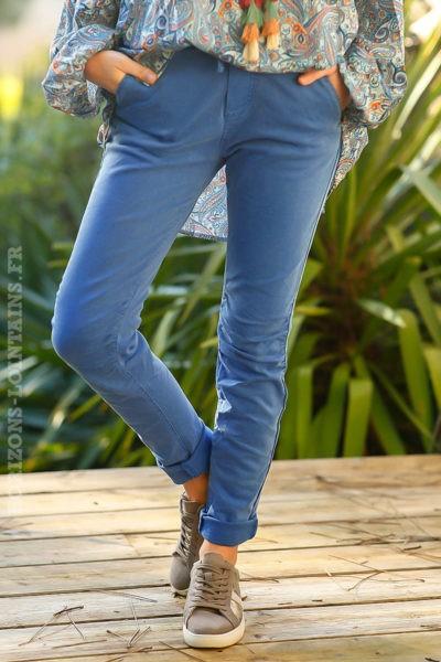Pantalon femme confortable bleu roi, ceinture réglable