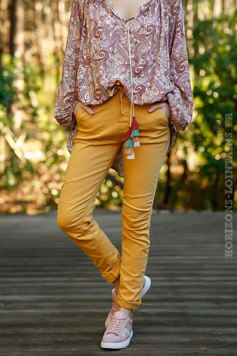 Pantalon jaune moutarde, ceinture lacet Horizons Lointains