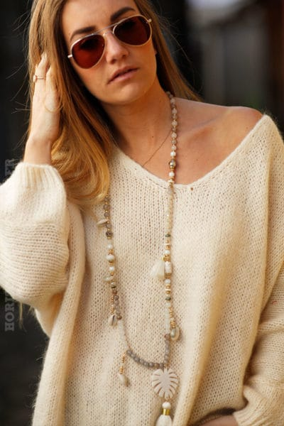 Pull femme couleur beige coupe loose grosses mailles