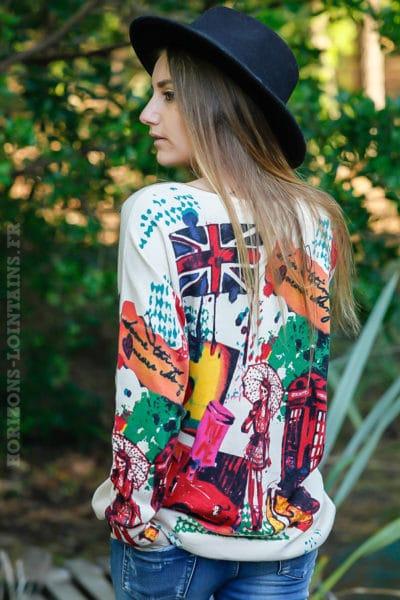 Pull-doux-beige-imprimé-coloré-London-city-england-vêtement-femme-moderne-C039