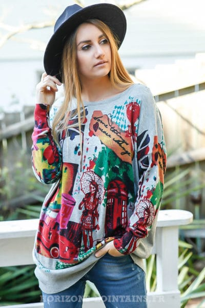 Pull-doux-gris-imprimé-coloré-London-city-england-vêtement-femme-moderne-C039