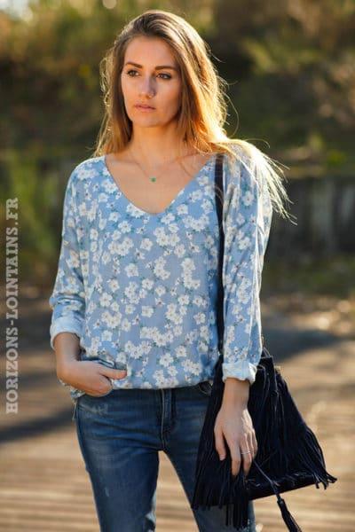 Pull-fin-coloré-bleu-ciel-imprimé-motifs-fleurs-cerisier-tops-femme-moderne-look