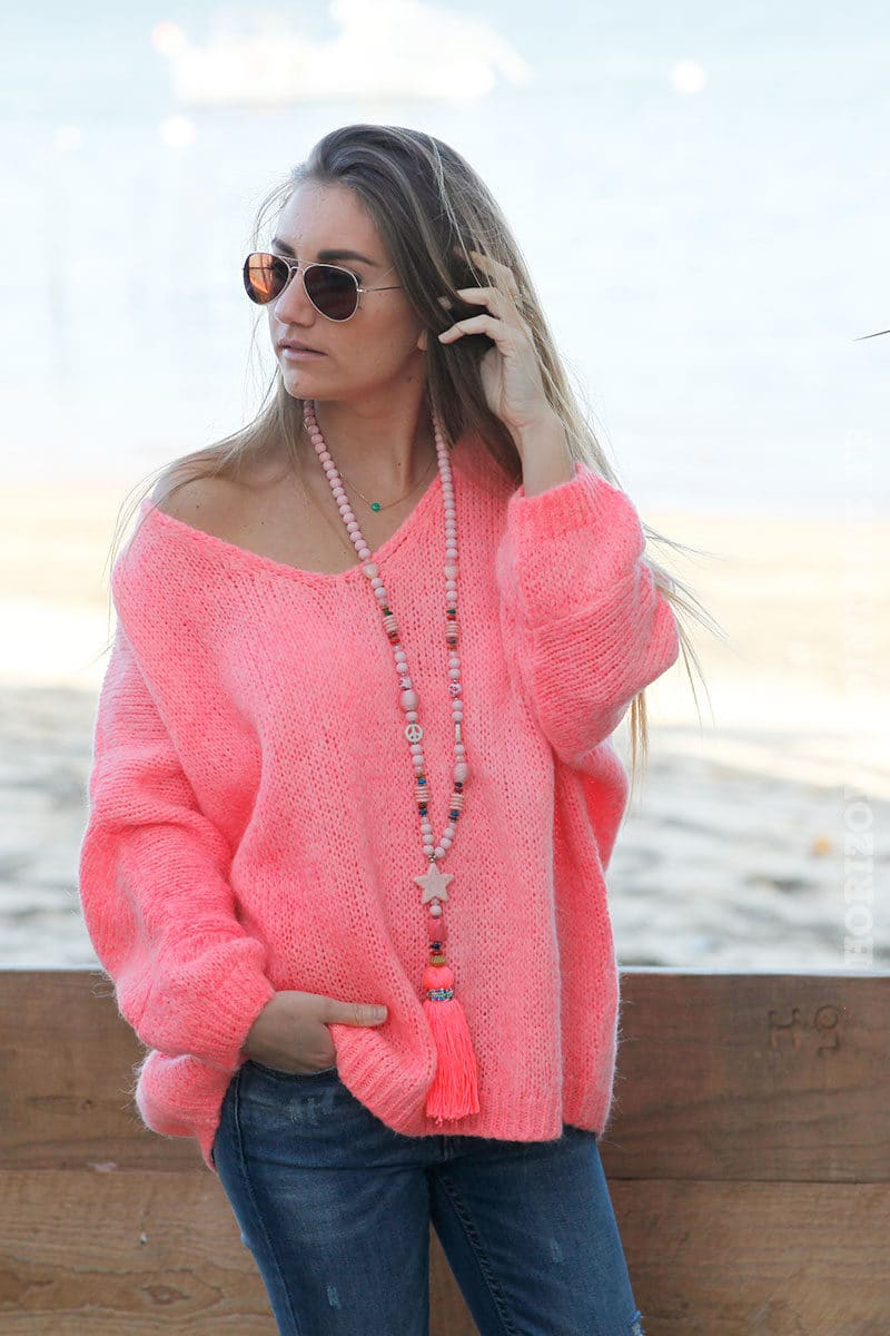 Pull femme couleur pêche fluo coupe loose grosses mailles