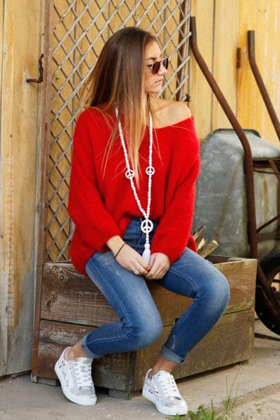 Pull femme couleur rouge coupe loose grosses mailles