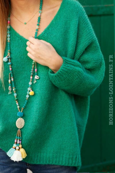 Pull femme couleur vert coupe loose grosses mailles