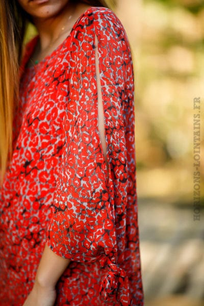 Robe-coupe-droite-bohème-rouge-imprimé-style-fleur-coquelicot-boho-femme-look-hippie-chic-C014