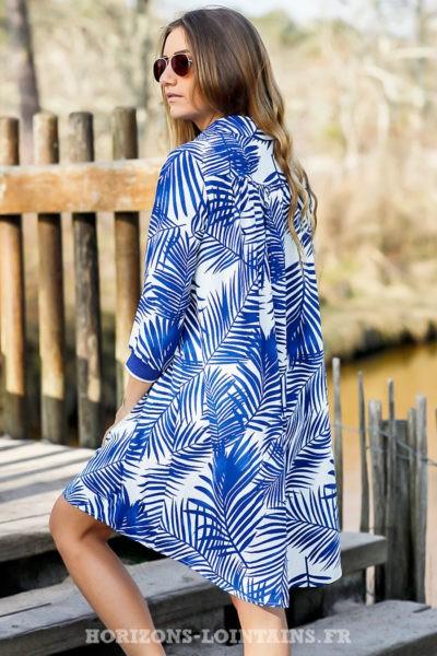 Robe-fluide-bleue-royal-imprimé-floral-feuilles-palmier-bleu-roi-look-plage-beach-exotique