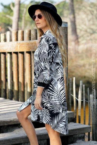 Robe-fluide-noire-imprimé-floral-feuilles-palmier-noir-look-plage-beach-exotique