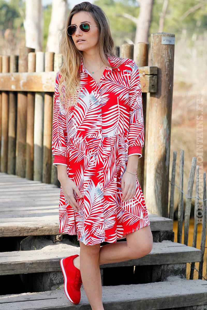 e32832015e Robe rouge fluide imprimé feuilles de palmier - Horizons Lointains