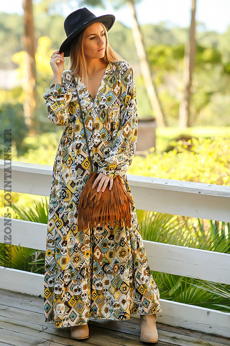 Robe-longue-bohème-jaune-imprimé-style-africain-tete-mort-look-boho-femme-hippie-chic