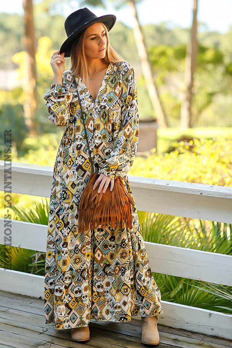 1448436fa45 Robe-longue-bohème-jaune-imprimé-style-africain-tete-