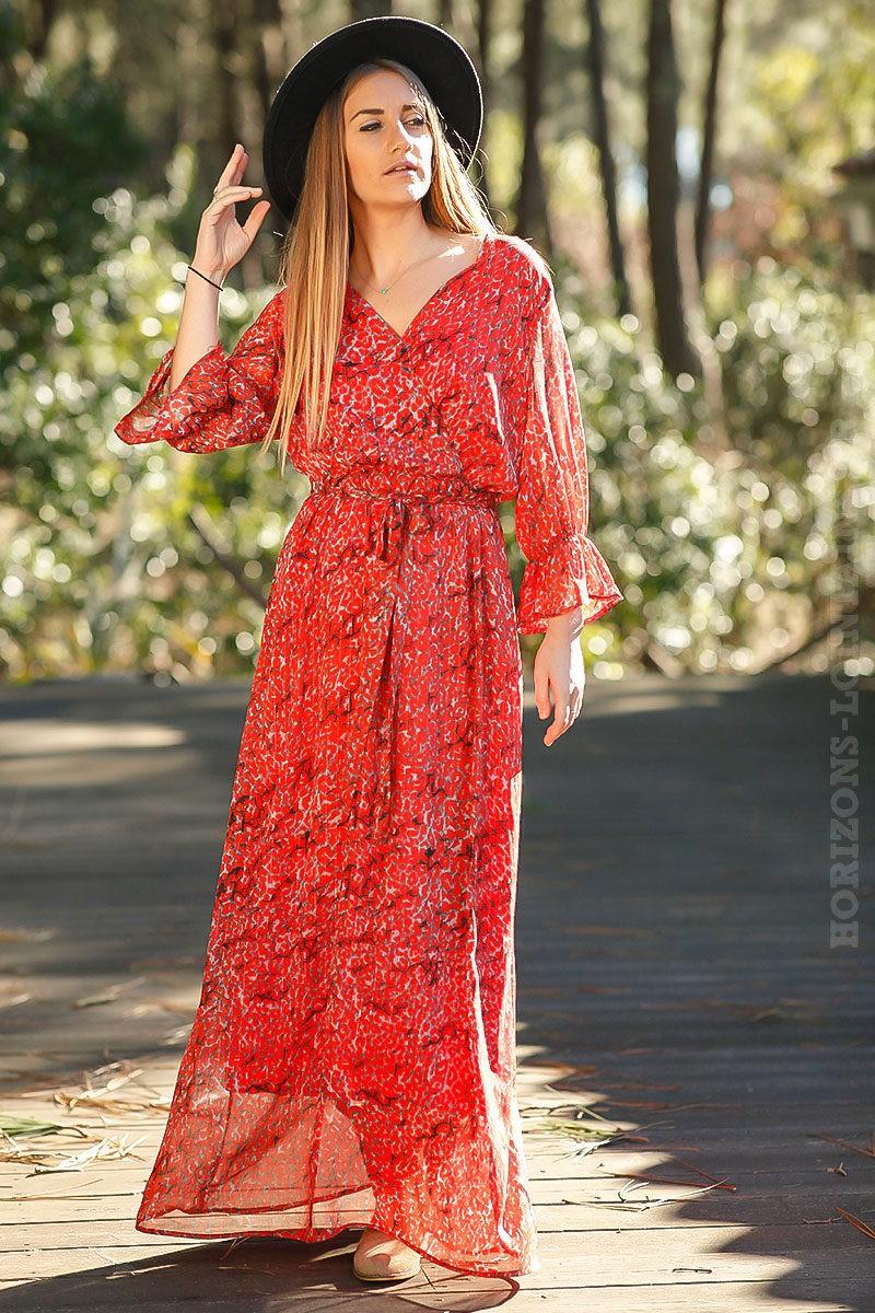 Robe-longue-bohème-rouge-imprimé-style-fleur-coquelicot-look-boho-femme-hippie-chic