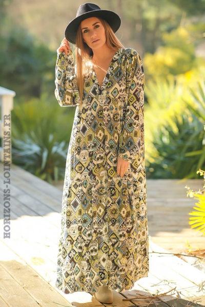 Robe-longue-bohème-verte-imprimé-vert-turquoise-style-africain-tete-mort-boho-femme-look-hippie-chic