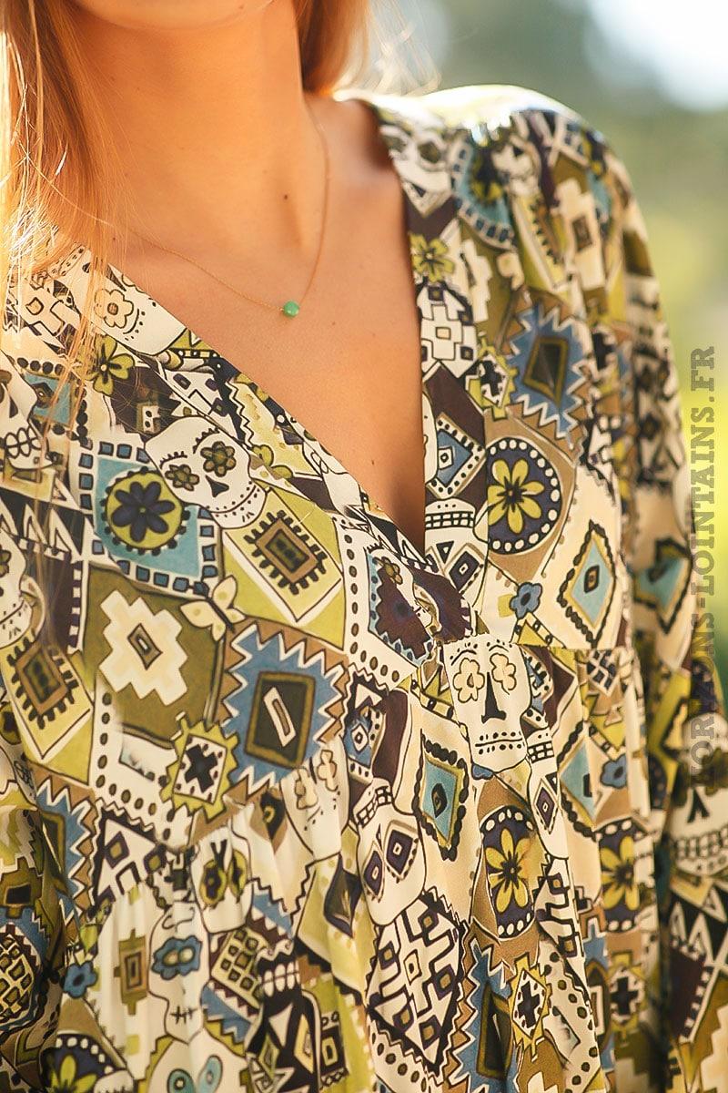 42bab65b0f Robe-longue-bohème-verte-imprimé-vert-turquoise-style-