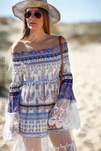 Robe tunique longue bleue col bardot dentelle