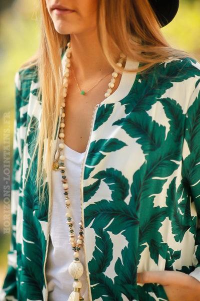Bomber imprimé feuilles vertes blanches noires veste femme printemps