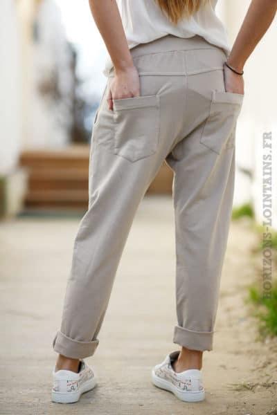 Jogging beige clair femme style urbain look street wear