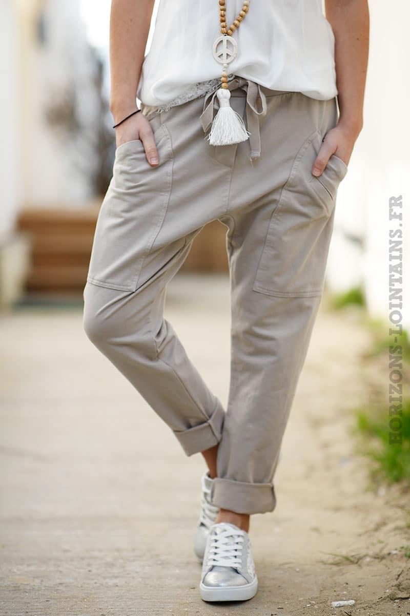 Pantalon de jogging beige clair urbain à poches - Horizons Lointains fbb8b0b93df