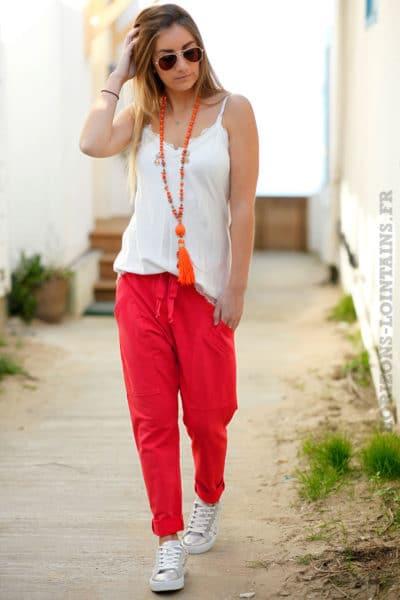 Jogging corail femme style urbain look street wear