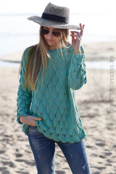 Pull mailles ajourées vert turquoise jade