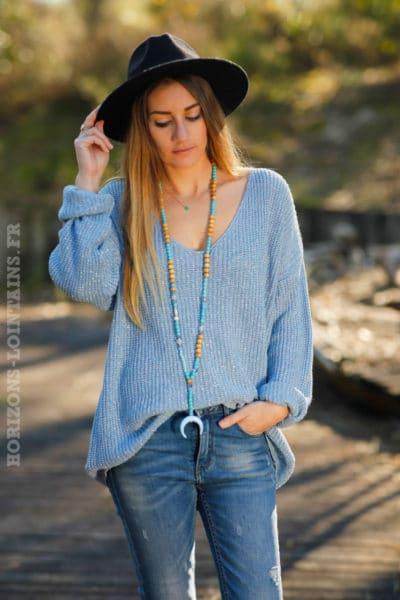 pull mailles fils brillants argentés couleur bleu ciel