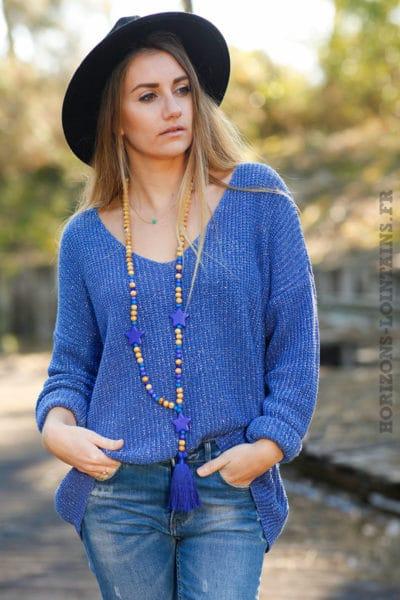 pull-mailles-fils-brillants-argentés-pulls-femme-bleu-jean-électrique-col-v