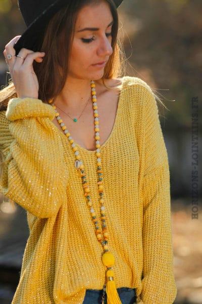 pull-mailles-fils-brillants-argentés-pulls-femme-jaune-moutarde-col-v