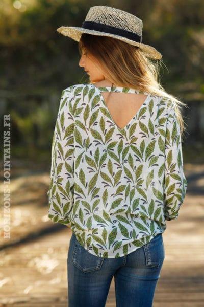 top-voilage-imprimé-feuilles-vert-pomme-vêtement-femme-style-blouse-colorées-C051