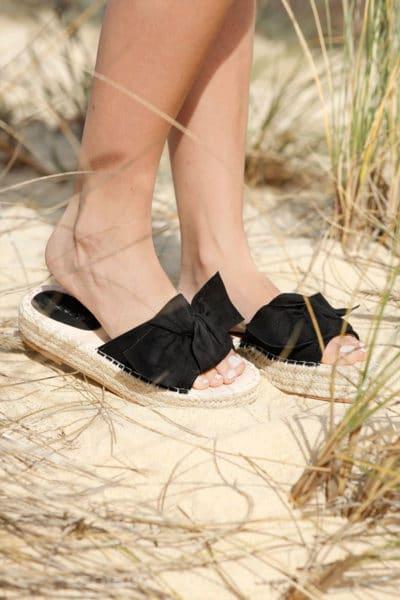 Mules-noires-plateforme-corde-avec-noeud-c09-sandale-été