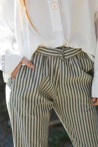 Pantalon-7-8-beige-stretch-à-rayures-verticales-kaki-boho-chic-c11