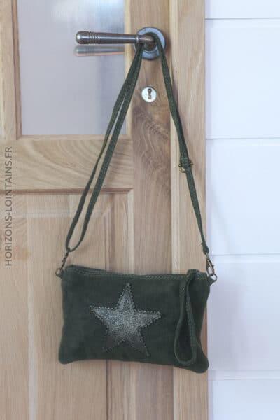 Pochette-etoile-brillante-cuir-velours-vert-foncé-sac-001