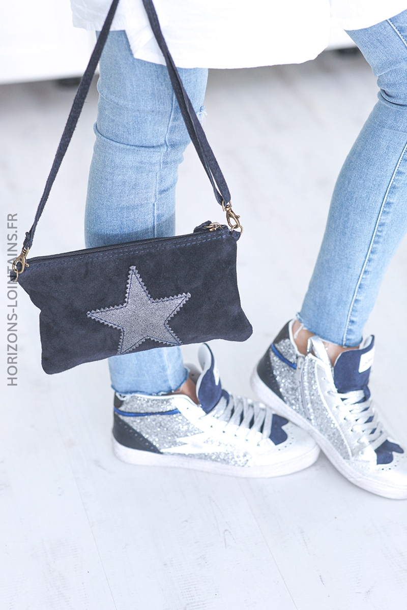 Pochette étoile en croûte de cuir bleu marine 001 (1)
