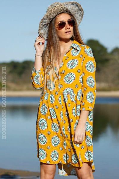 Robe chemise mi-longue jaune moutarde imprimé rosaces