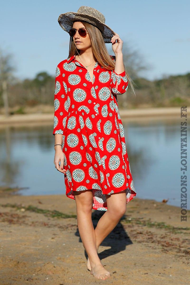 3b3ab1c71a04 Robe chemise rouge manches 3 4 imprimé - Horizons Lointains