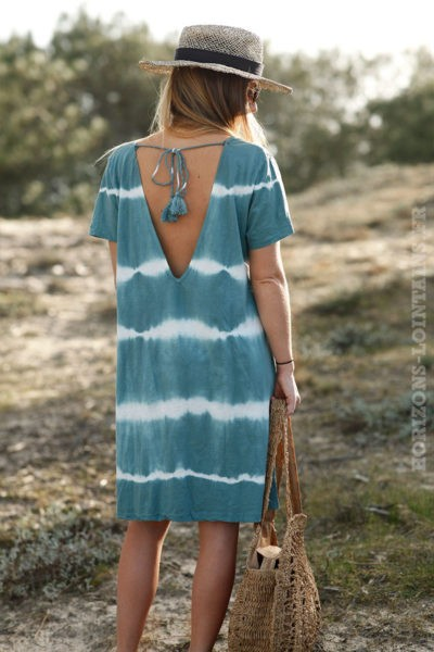Robe-courte-vert-amande-tie-and-dye-c41-boheme-hippie-70s-3